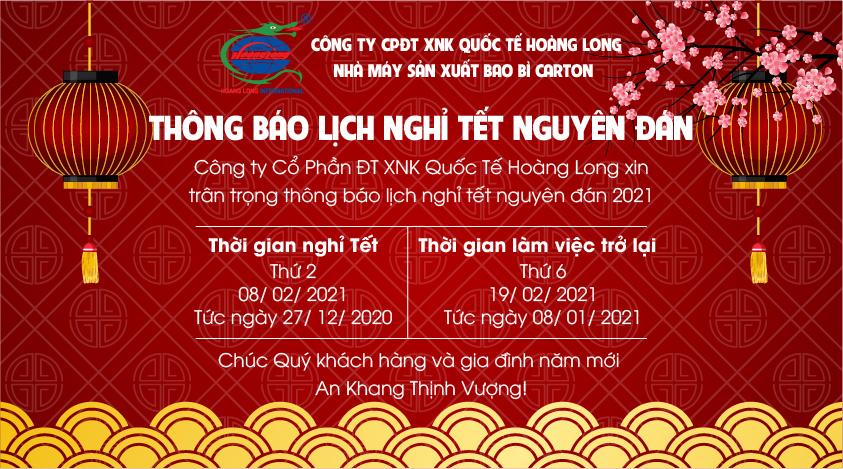 Thông báo lịch nghỉ Tết âm lịch 2021